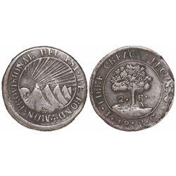 Tegucigalpa, Honduras, low-silver 2 reales (provisional), 1853G, ex-Dana Roberts.