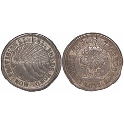 Tegucigalpa, Honduras, low-silver 1 real (provisional), 1844G, CREZCA, rare.