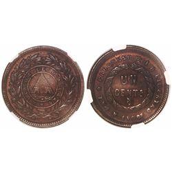 Honduras, copper 1 centavo, 1908, small-pyramid type struck from 10-centavos dies with REPLBLICA err
