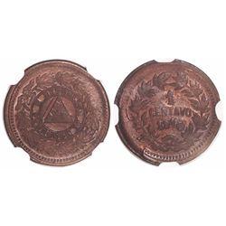 Honduras, copper 1 centavo, 1910, 5c obverse die and 1/2c reverse die, encapsulated NGC MS 64 BN, ex