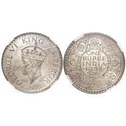 India (British), 1 rupee, George VI, 1938, dot mintmark at bottom on reverse, encapsulated NGC MS 62