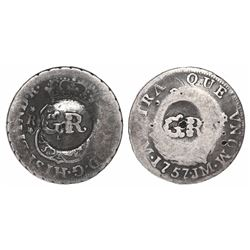 """Jamaica (British administration), 10 pence, """"GR"""" double countermark on a Lima, Peru, pillar 1 real,"""