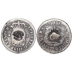 """Jamaica (British administration), 5 pence, """"GR"""" double countermark on a Lima, Peru, pillar 1/2 real,"""