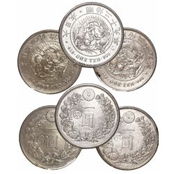 """Lot of 3 Japanese 1 yen, ca. 1897, with """"gin"""" countermark to left of center on each."""