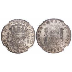 Mexico City, Mexico, pillar 8 reales, Philip V, 1733F, mintmark M.X, encapsulated NGC AU details / s