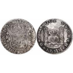 Mexico City, Mexico, pillar 8 reales, Philip V, 1733F, encapsulated ANACS EF 40 details / corroded.
