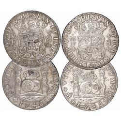 Lot of 2 Mexico City, Mexico, pillar 8 reales, Philip V, 1739MF and 1746MF, both with chopmarks as c