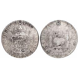 Mexico City, Mexico, pillar 8 reales, Charles III, 1768/7MF, rare overdate.