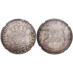 Mexico City, Mexico, pillar 4 reales, Charles III, 1769MF, encapsulated NGC VF 30, ex-Rudman.