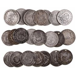 Large lot of 23 Mexico City, Mexico, pillar 2 reales, Philip V through Charles III, dates as follows