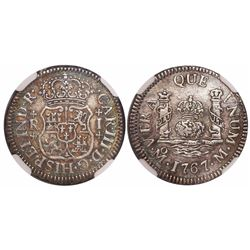 Mexico City, Mexico, pillar 1 real, Charles III, 1767M, encapsulated NGC AU details / surface hairli
