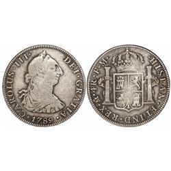 Mexico City, Mexico, bust 4 reales, Charles III, 1789/8FM, unlisted overdate.