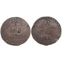 Oaxaca/SUD/Tierra Caliente (Morelos), Mexico, copper 8 reales, 1813.
