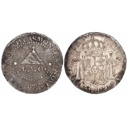 Zacatecas, Mexico, 8 reales, Ferdinand VII, 1811-L.V.O., Royal arms on obverse, rare.