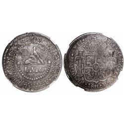 Zacatecas, Mexico, 8 reales, Ferdinand VII, 1811-L.V.O., Royal arms on obverse, encapsulated NGC AU