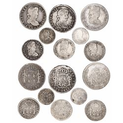 Lot of 8 Zacatecas, Mexico, bust minors (three 2R, three 1R and two 1/2R) of Ferdinand VII, various