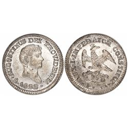 Mexico City, Mexico, 1/2 real, 1822JM, Iturbide, with old NGC MS 64 tag.