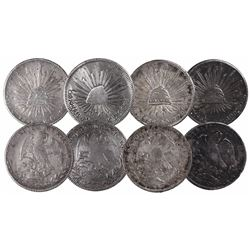 Lot of 4 Mexican cap-and-rays 8 reales, various mints and dates: 1834ZsOM, 1838ZsOM, 1841CaRG and 18