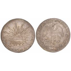 Zacatecas, Mexico, cap-and-rays 4 reales, 1860/59MO.