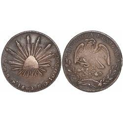 San Luis Potosi, Mexico, cap-and-rays 4 reales, 1863RO.