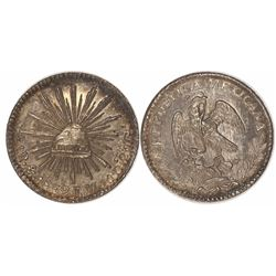 Mexico City, Mexico, cap-and-rays 1 real, 1832JM.