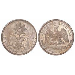 Mexico City, Mexico, 1 peso, 1870C.