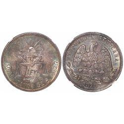 Guanajuato, Mexico, 50 centavos, 1870S, encapsulated NGC MS 63, tied for finest known in NGC census.