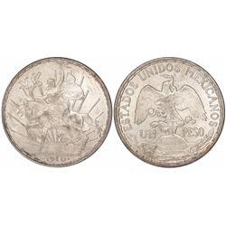 "Mexico City, Mexico, 1 peso ""caballito,"" 1910."
