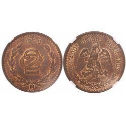Mexico City, Mexico, copper 2 centavos, 1920, encapsulated NGC MS 62 RB.