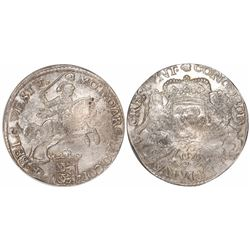 """West Friesland, Netherlands, """"rider"""" ducatoon, 1676, encapsulated NGC MS 63, finest known in NGC cen"""