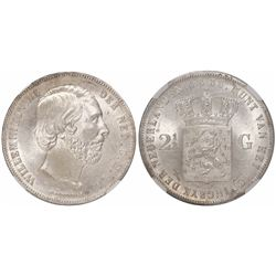 Netherlands (Kingdom), 2-1/2 gulden, Willem III, 1858, encapsulated NGC MS 64, finest known in NGC c