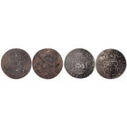 Lot of 2 Lima, Peru, pillar 8 reales, Charles III, 1771JM, both salvaged.