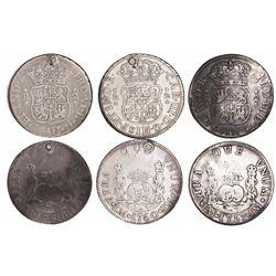 Lot of 3 Lima, Peru, pillar 2 reales, Ferdinand VI (1757JM and 1760JM) and Charles III (1760JM).