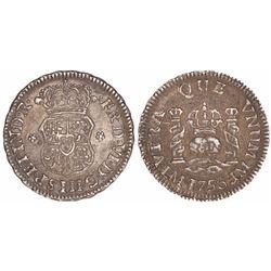 Lima, Peru, pillar 1/2 real, Ferdinand VI, 1756JM.