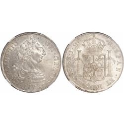 Lima, Peru, bust 8 reales, Charles III, 1772JM, encapsulated NGC MS 62, finest known in NGC census,