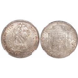 Lima, Peru, bust 8 reales, Charles III, 1773JM, encapsulated NGC AU 53.