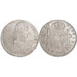 Lima, Peru, bust 8 reales, Ferdinand VII, 1812JP.