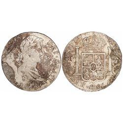 Lima, Peru, bust 8 reales, Ferdinand VII, 1815JP, unique error with partial second strike.