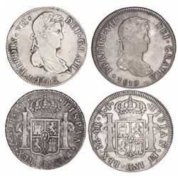 Lot of 2 Lima, Peru, bust 4 reales, Ferdinand VII: 1812JP and 1819JP.