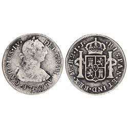 "Lima, Peru, bust 2 reales, Charles IV transitional (bust of Charles III, ordinal IV), 1790IJ, ""R2"" e"