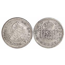 Lima, Peru, bust 1/2 real, Charles III, 1776MJ.