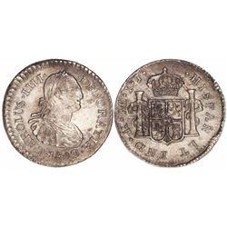Lima, Peru, bust 1/2 real, Charles III, 1802IJ.