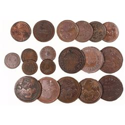 Large lot of 19 Lima, Peru, provisional copper 1/4 pesos 1823 (8), 1/8 pesos 1823 (6) and 1/4R 1822