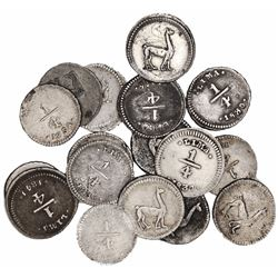 Large lot of 17 Lima, Peru, 1/4R, various dates: 1828, 1830, 1831, 1833, 1836, 1837, 1840, 1841, 184
