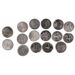 Lot of 16 Lima, Peru, 1/4R, various dates: 1826, 1828, 1830/28, 1833, 1835, 1845 (2), 1850, 1855 (5,