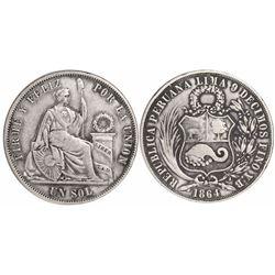 Lima, Peru, 1 sol, 1864YB, Arabic date (no overdate), D in dentils, rare.