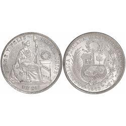 Lima, Peru, 1 sol, 1869YB, Arabic 1 in date.