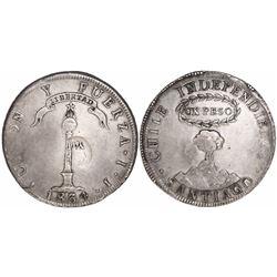 "Philippines (under Spain), 8 reales, Isabel II, crowned ""Y.II."" countermark (1834-37) on a Santiago,"