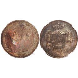 Lisbon, Portugal, 1000 reis, Maria II, 1844, encapsulated NGC AU 58.