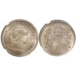 Portugal, copper-nickel 1 escudo, 1928, encapsulated NGC MS 64.